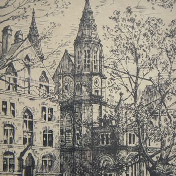 Etching~Yale&#039;s Battell Chapel, 1914~Signed HML