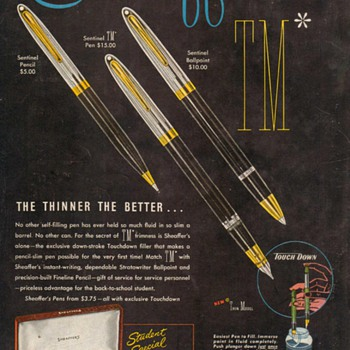 "1951 - Sheaffer's Pens ""Sentinel"" & ""Admiral"" Advertisement - Advertising"