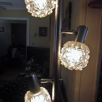 Grandma's vintage chrome glass/crystal pole tension lamp
