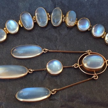 Art Deco Gold Moonstone Necklace and Bracelet - Art Deco