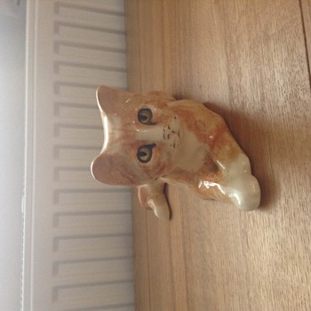 Cat... with the eyes that watch you walk across the room  - Art Pottery