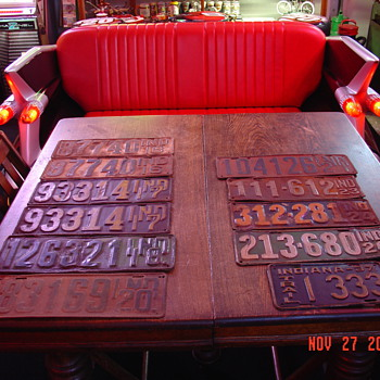 Old Indiana License Plates...1916 a set, 1917 a set, 1918, 1920, 1921, 1923, 1924, 1926, 1937 - Signs