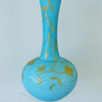 Rare Riedel Herringbone Enameled Blue Satin Glass Vase, ca. 1890 - Art Glass