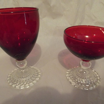 Anchor Hocking Bubble (early american) Ruby Water Goblet & Anchor Hocking bubble (Early American)Ruby Sherbet