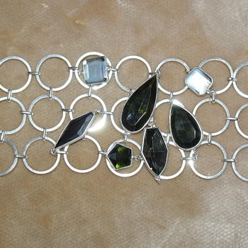 Unusual Costume Bracelet with Glass Stones and Mother of Pearl