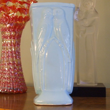 "ART DECO "" Cuddling Parakeets"" Pottery Vase- Any Ideas on Manufacturer"