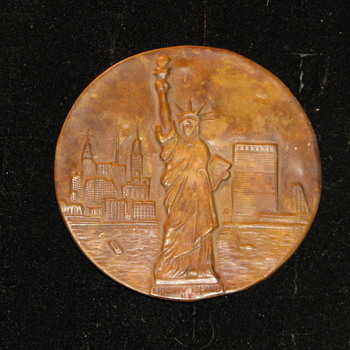 Vintage Copper Liberty Island Badge - Medals Pins and Badges
