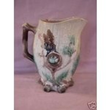 Vintage Mayer Pottery Birds Nest Majolica Pitcher  - Art Pottery