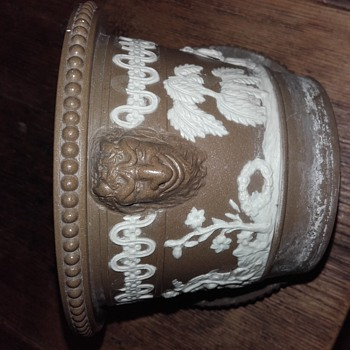 Brown Jasper Ware flower pot with underplate