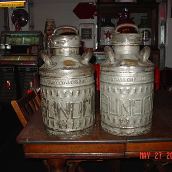 Embossed Sunoco Five Gallon Oil Cans