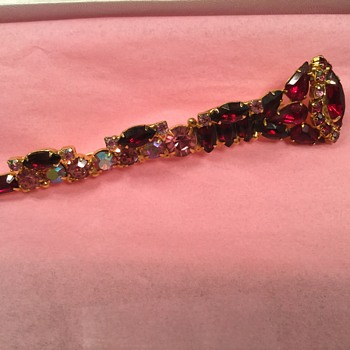 POSSIBLY THE ONLY ONE TO EXIST!...D & E Ruby Clarinet Brooch - Costume Jewelry