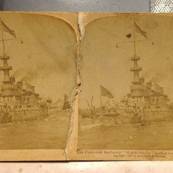 Old stereo view photo card the Massachusetts