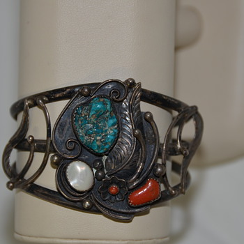 Old Pawn Bracelet with Unknown Makers Mark Navajo Sterling Turquoise - Native American