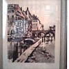 "French Original Tinted Etching ""Quay on the River Dyle"" by Ferdinand Jean Luigini /Sidney Z. Lucas Trademark /Circa 1920's 30's"