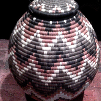African Basket with papers