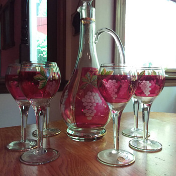 Cranberry Flash Etched and Handpainted Romanian Crystal Decanter & Wine Glasses - Art Glass