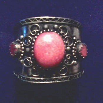 Handmade Mexican Silver (?) Cuff Bracelet / Red Stones / Unknown Maker and Age - Fine Jewelry