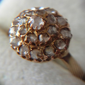 Victorian Rose Cut Diamonds Gold Ring - Fine Jewelry