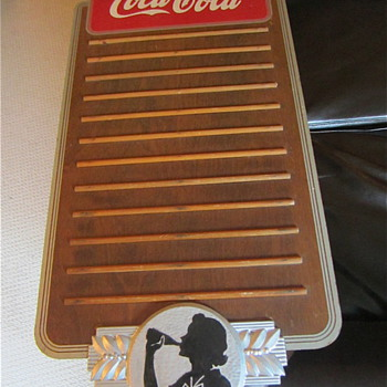 "Coca Cola 1939 masonite ""Silhoutte Girl"" Menuboard - Coca-Cola"