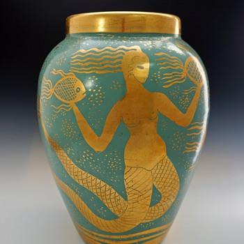 1930s Waylande Gregory Large Deco/Phoenician Style Melusine Vase