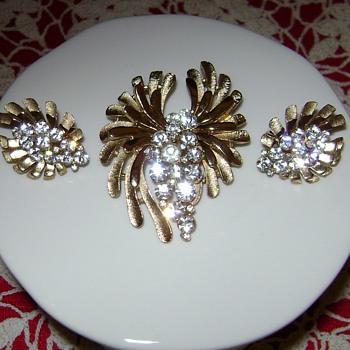 Trifari Brooch and Earrings - Costume Jewelry