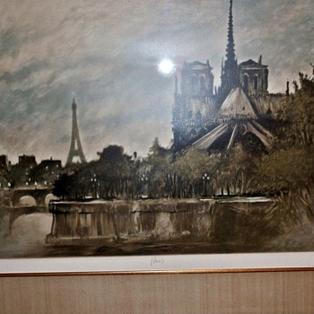 "VINTAGE SIGNED LIMED EDITION PRINT - TITLE: "" PARIS "" - Posters and Prints"