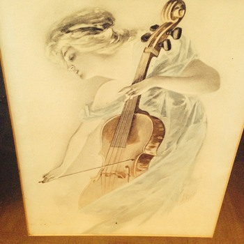 Lady playing cello - Visual Art