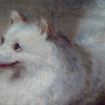 Signed Oil Painting Of A Spitz Dog Date appears to be 1865  31X26