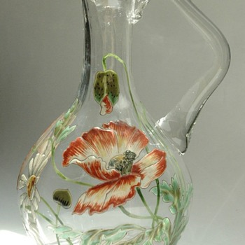 rare art nouveau enameled pitcher , Meisenthal 1895
