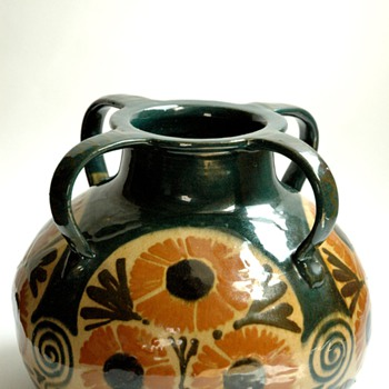 huge french art nouveau art pottery vase by LEON ELCHINGER