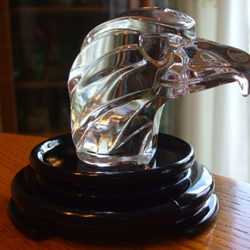 JACQUES G. DURAND of VERRERIES CRISTALLERIES D'ARQUES Signed CRYSTAL EAGLE HEAD Paperweight - Art Glass