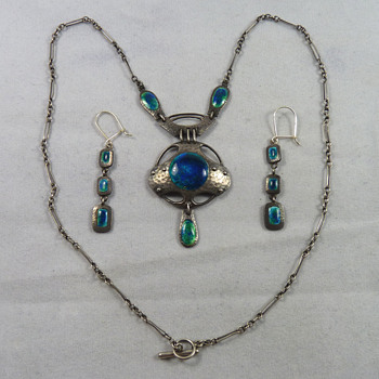 Murrle Bennett Jugendstil Silver & Enamel Necklace & Earrings - Thanks to Cathy Gordon - Fine Jewelry