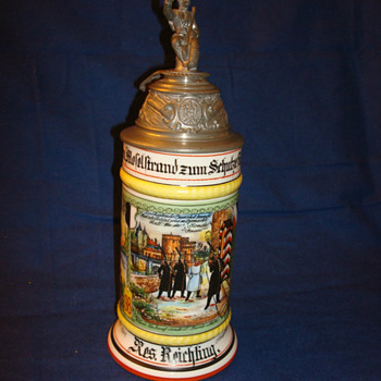 Imperial German Prussian beer stein of Reservist Reichling - Breweriana