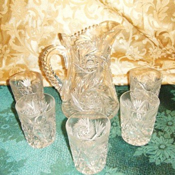 Czechoslovak lead crystal pitcher and 5 glasses - Glassware