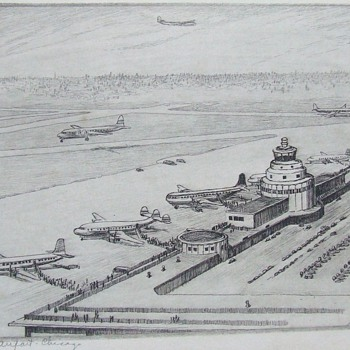 1952 Etching of Chicago's Midway (Municipal) Airport. - Advertising