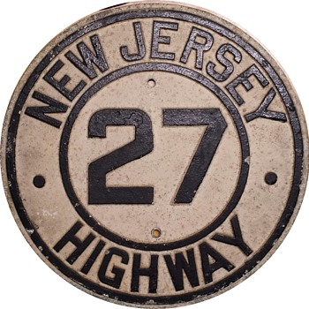 Late 1920s Cast Aluminum NJ Highway 27 Shield