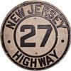 Late 1920s Cast Aluminum NJ Highway 27 Shield