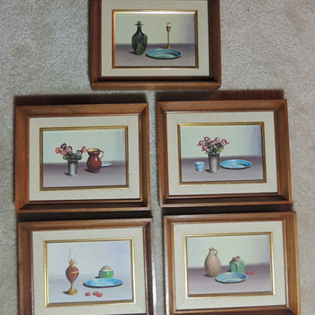 Five 5X7 Original Still Life Oil Paintings - V. Weley Mid 20th Century