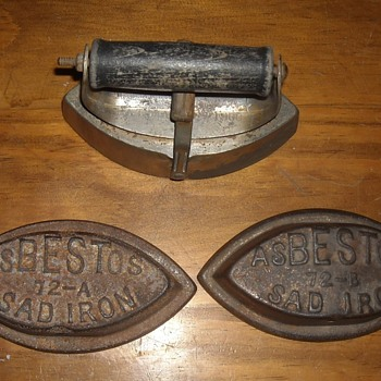 Asbestos Sad Iron Set Cover with Two Irons - Tools and Hardware