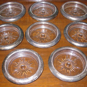 1920's Sterling Silver & Glass Coasters - Art Glass