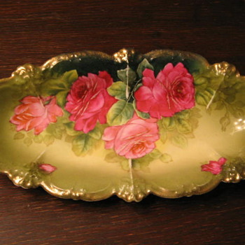 ANTIQUE Porcelain BAVARIAN PLATE w ROSES-Gold J. BRAUN - China and Dinnerware