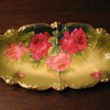ANTIQUE Porcelain BAVARIAN PLATE w ROSES-Gold J. BRAUN