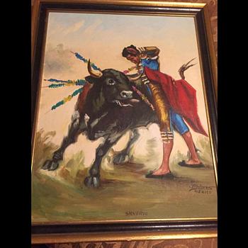 mexican matador and bull paintings