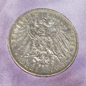 100 Years Old Silver Coin -3 Deutsche Mark