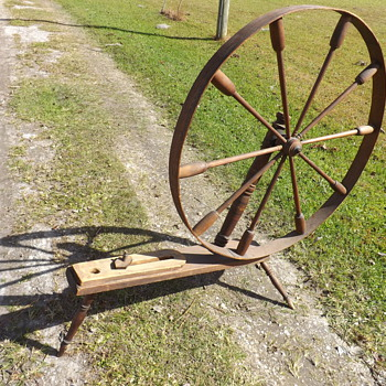 Antique Spinning Wheel Marked T. Lee