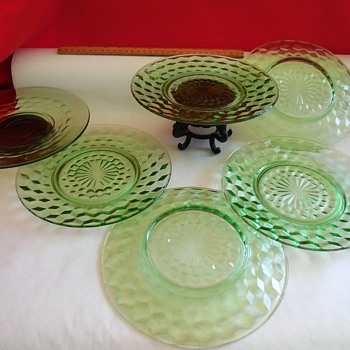 More From Salem Green Jeannette Glass Co. Cubist(Cube) Plates   - Glassware