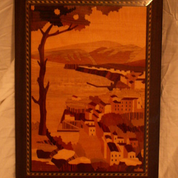 "Vintage ""Piazzo Tasso"" Inlaid Wood Portrait ~ A. Cuomo Co. - Sorrento, Italy"
