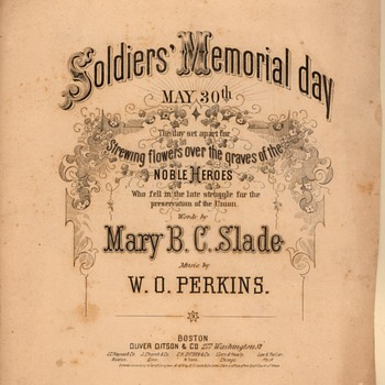 """SOLDIER'S MEMORIAL DAY"", SHEET MUSIC, RIGHT AFTER THE CIVIL WAR ENDED. - Music Memorabilia"