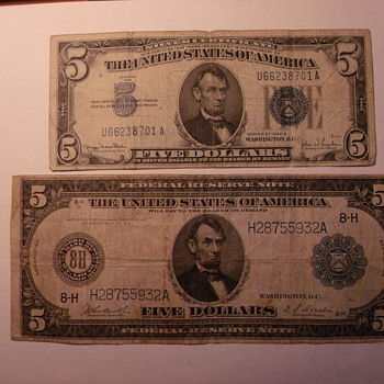 """Saddle Blanket"" US Five Dollar Bill - US Paper Money"