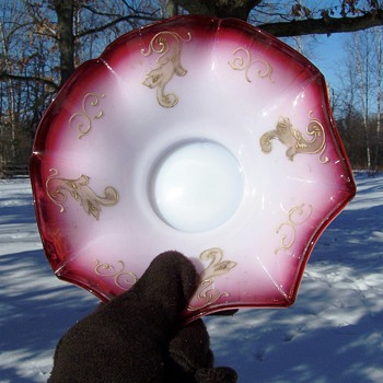 Victorian Enameled Milk Glass Cranberry Opal Edge Brides Bowl - Glassware